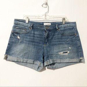 Loft Cuffed Distressed Denim Shorts Size 10